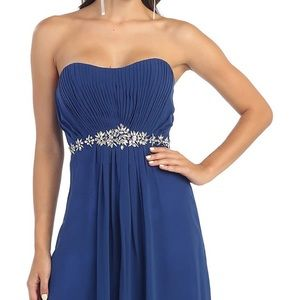MayQueen Couture Royal Blue Strapless Formal Dress